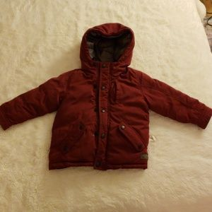 Zara puffy jacket 2/3 yrs (maroon)